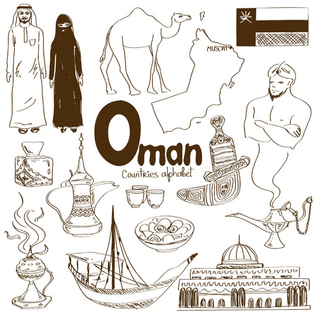 Fun sketch collection of Oman icons, countries alphabet Illustration