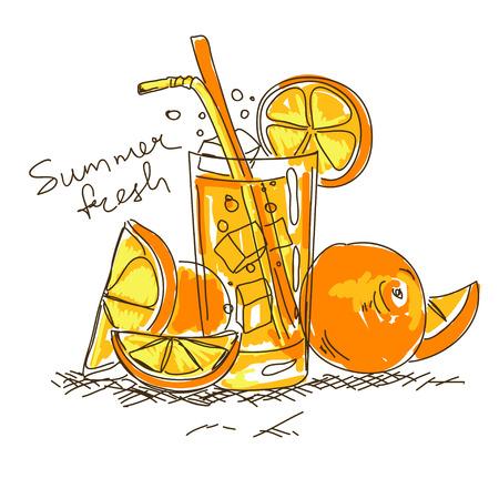 non alcoholic beverage: Hand drawn cartoon fresh cocktail with orange