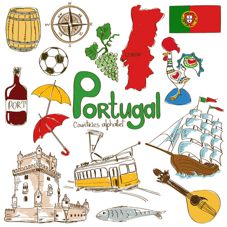 Fun colorful sketch collection of Portugal icons, countries alphabet Vectores