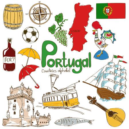 bandera de portugal: Diversión colección bosquejo colorido de Portugal iconos, alfabeto países