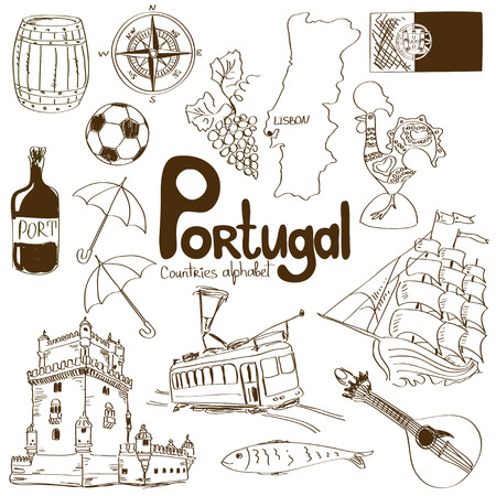 belem: Fun colorful sketch collection of Portugal icons, countries alphabet Illustration