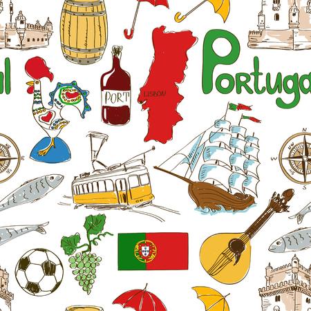sardine: Fun bunte Skizze Portugal nahtlose Muster