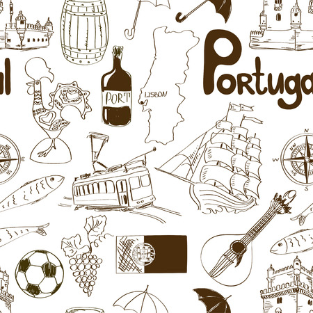 Fun sketch Portugal seamless pattern Vector