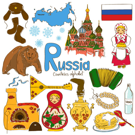 Fun colorful sketch collection of Russia icons, countries alphabet Vector