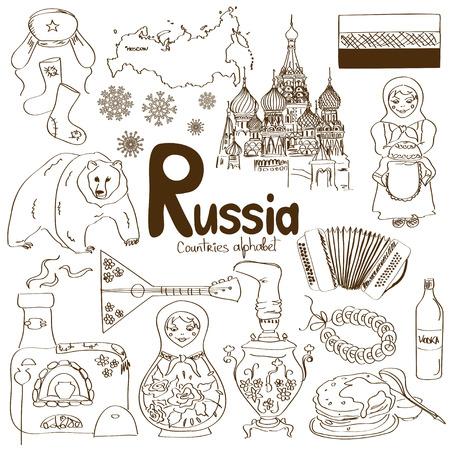 muñecas rusas: Diversión colección bosquejo colorido de iconos de Rusia, alfabeto países