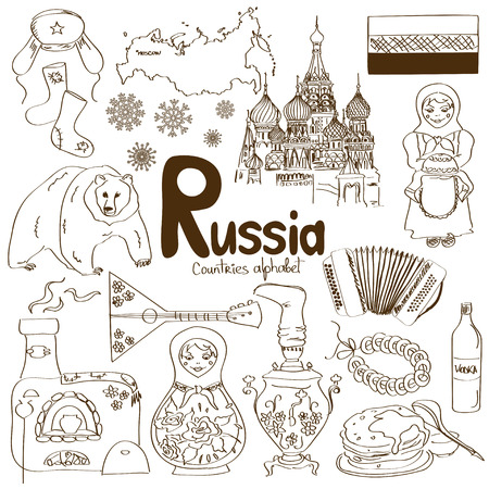 Fun colorful sketch collection of Russia icons, countries alphabet Reklamní fotografie - 30510856