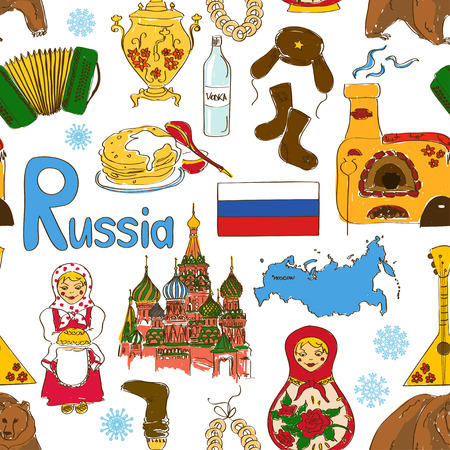 russian: Fun colorful sketch Russian seamless pattern