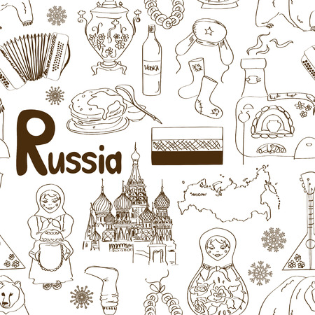russian food: Fun sketch Russian seamless pattern Illustration