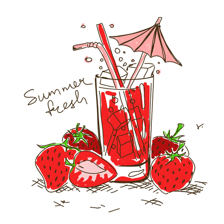 Hand drawn cartoon fresh cocktail with strawberry