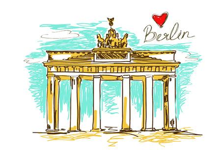 Colorful sketch illustration of Brandenburg gate in Berlin Vector
