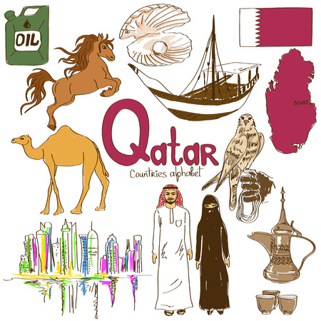 falcon: Fun colorful sketch collection of Qatar icons, countries alphabet