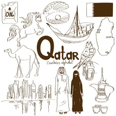 カタールのアイコンは、国のアルファベットの楽しいスケッチ集