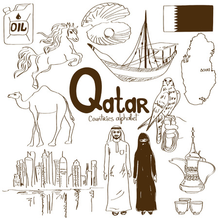 Fun sketch collection of Qatar icons, countries alphabet Vector