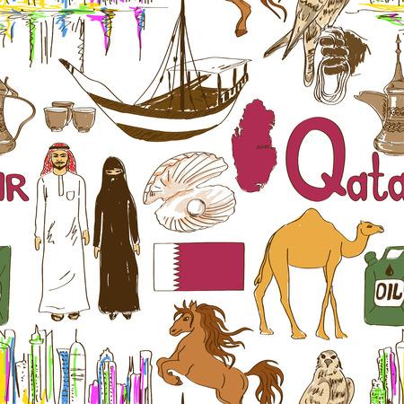 qatar: Fun colorful sketch Qatar seamless pattern