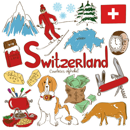alpes suizos: Diversi�n colecci�n bosquejo colorido de Suiza iconos, alfabeto pa�ses