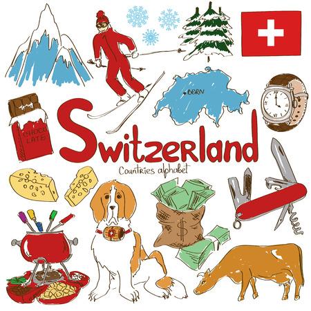 Leuke kleurrijke schets collectie van Zwitserland iconen, landen alfabet