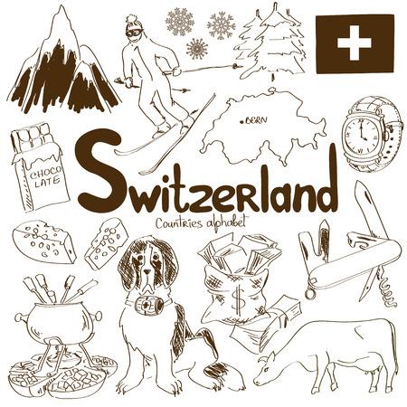 alpes suizos: Diversi�n colecci�n esbozo de Suiza iconos, alfabeto pa�ses Vectores