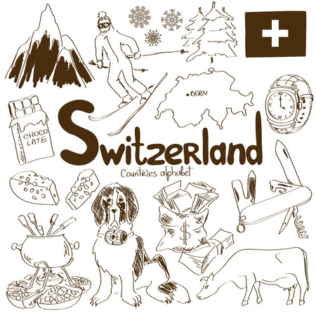 ski resort: Fun sketch collection of Switzerland icons, countries alphabet