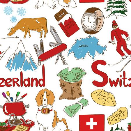 swiss cheese: Fun colorful sketch Switzerland seamless pattern