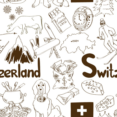 Fun sketch Switzerland seamless pattern