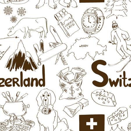 swiss alps: Zabawa szkic Szwajcaria szwu wzór Ilustracja
