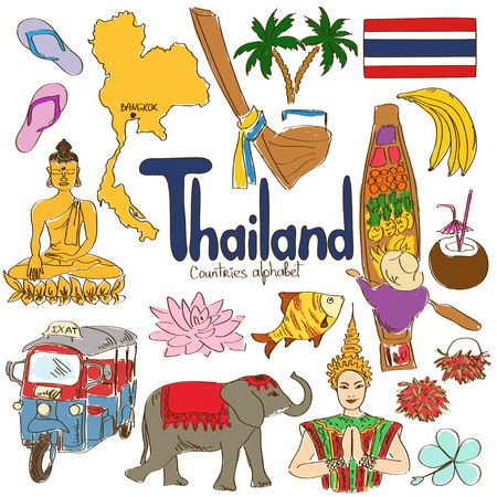 thai women: Fun colorful sketch collection of Thailand icons, countries alphabet