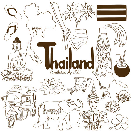 thai women: Fun sketch collection of Thailand icons, countries alphabet Illustration