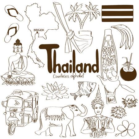 Leuke schets collectie van Thailand iconen, landen alfabet Stock Illustratie