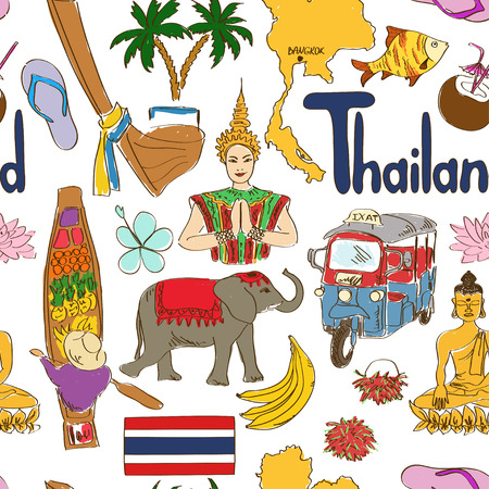 thai women: Fun colorful sketch Thailand seamless pattern