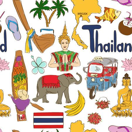 bangkok landmark: Fun colorful sketch Thailand seamless pattern