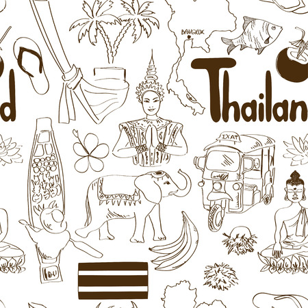 thai women: Fun sketch Thailand seamless pattern Illustration