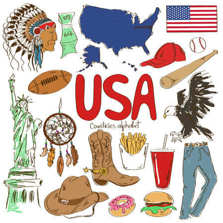 Fun colorful sketch collection of USA icons, countries alphabet Illustration