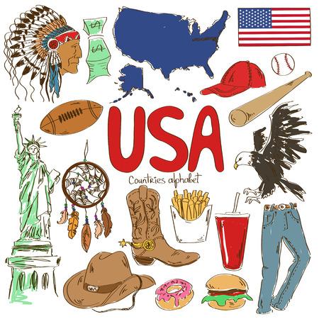 Fun colorful sketch collection of USA icons, countries alphabet Ilustração