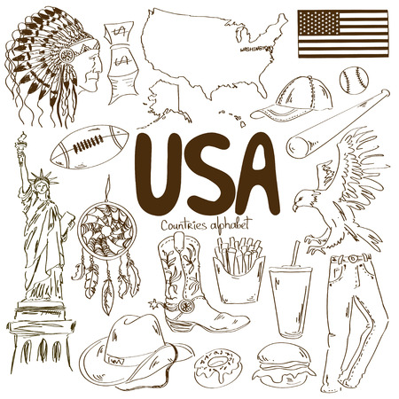 Fun sketch collection of USA icons, countries alphabet