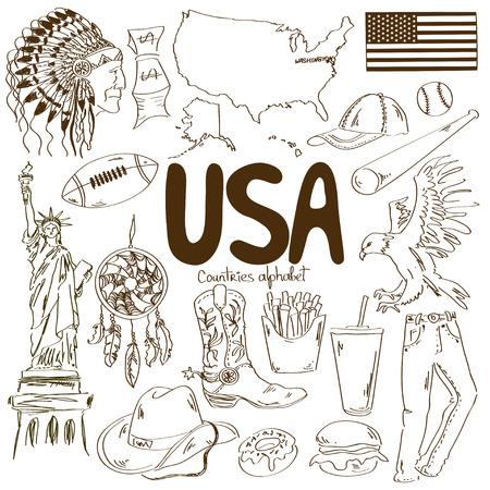 Fun sketch collection of USA icons, countries alphabet