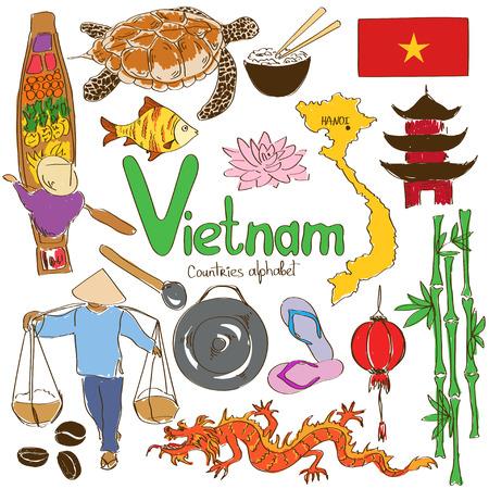 Fun collection croquis coloré d'icônes vietnamiens, alphabet pays Banque d'images - 30396671
