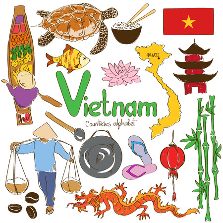 vietnamese food: Fun colorful sketch collection of Vietnamese icons, countries alphabet