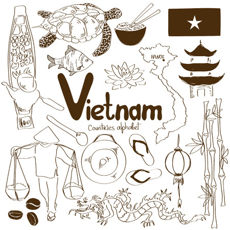 Fun sketch collection of Vietnamese icons, countries alphabet
