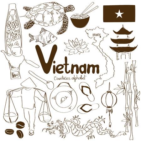 Fun sketch collection of Vietnamese icons, countries alphabet