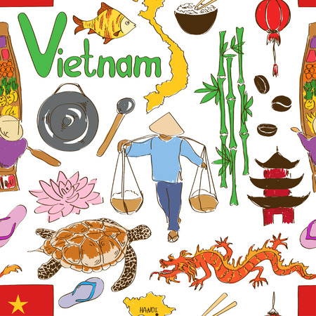Fun colorful sketch Vietnam seamless pattern Vector
