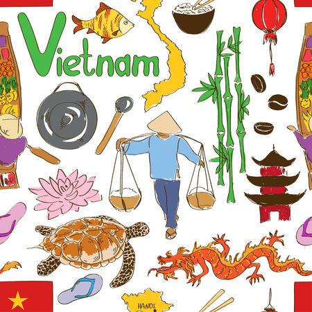 Fun colorful sketch Vietnam seamless pattern Vector