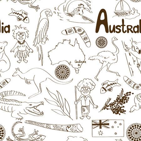 Fun sketch Australia seamless pattern Vector