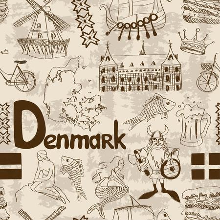 denmark flag: Fun sketch Denmark seamless pattern