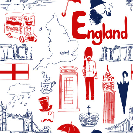 Fun sketch England seamless pattern