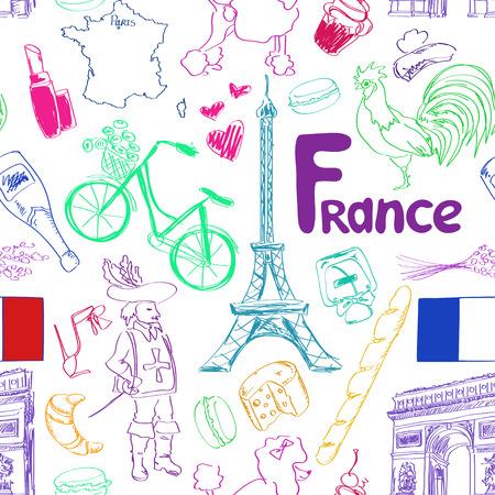 triumphal: Fun colorful sketch France seamless pattern Illustration