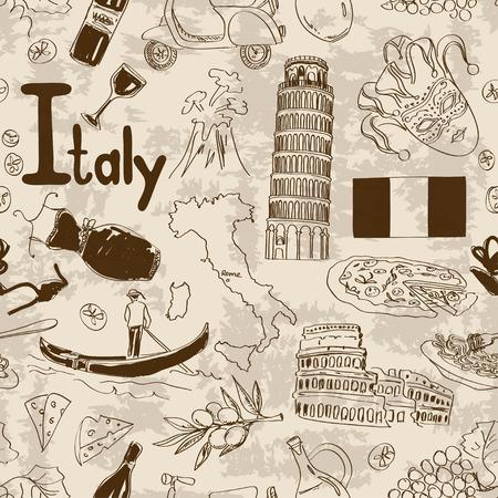 Boceto Diversión Italia patrón transparente Vectores