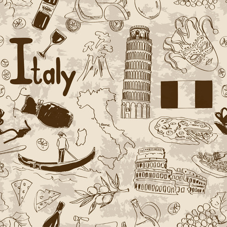 gondolier: Fun sketch Italy seamless pattern