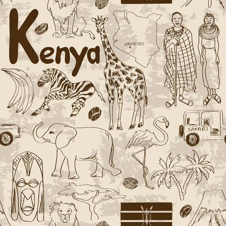 kenya: Fun sketch Kenya seamless pattern
