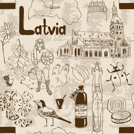 balsam: Fun sketch Latvia seamless pattern