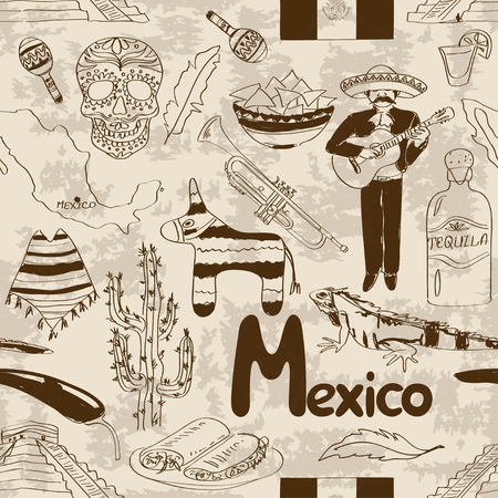 pinata: Fun sketch Mexico seamless pattern Illustration